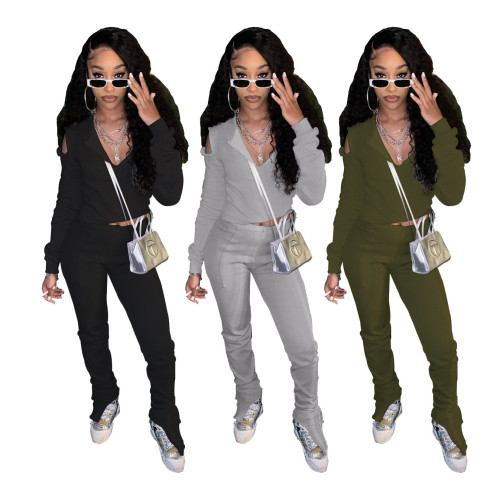 Olive green  Solid color trousers split DIY strapless hoodie two-piece suit