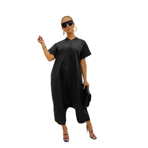 Pure color loose and thin short-sleeved wide-leg jumpsuit one-piece pants
