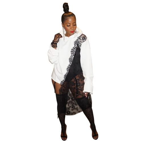 Fashion loose splicing lace irregular casual sweater