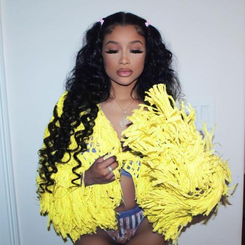 Yellow Fashion Handmade Fringed Cardigan Woolen Jacket