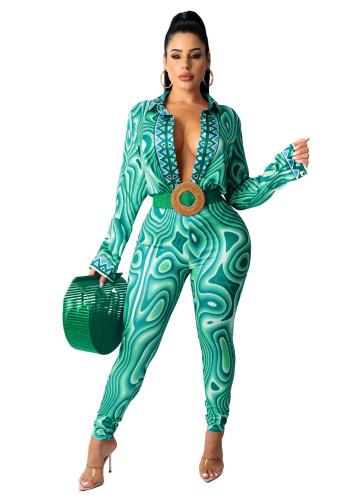 Fashion ladies printed shirt casual suit