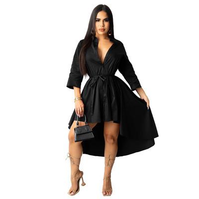 Irregular half sleeve long shirt dress