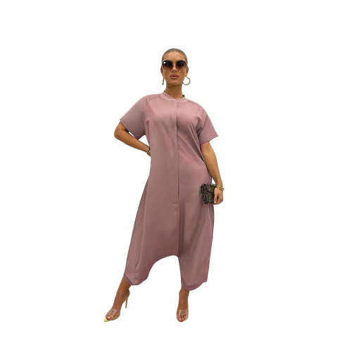 Light red Pure color loose and thin short-sleeved wide-leg jumpsuit one-piece pants