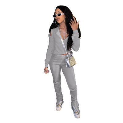 Grey  Solid color trousers split DIY strapless hoodie two-piece suit