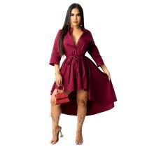 Claret Irregular half sleeve long shirt dress