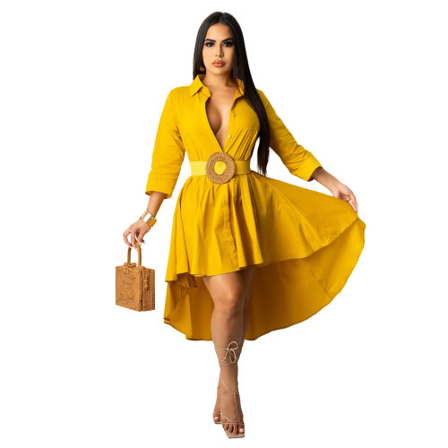 Yellow Irregular half sleeve long shirt dress