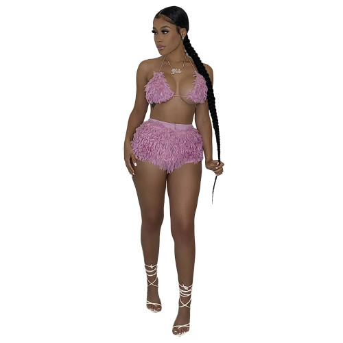 Pink Sexy lady with rabbit fur-like basic inner wear casual suit