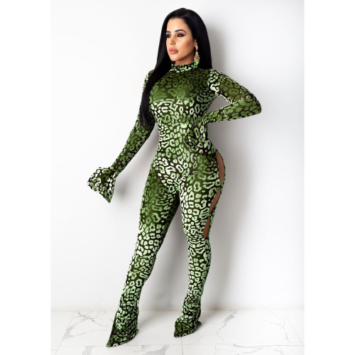 Green Women's sexy positioning printing trousers long-sleeved jumpsuit