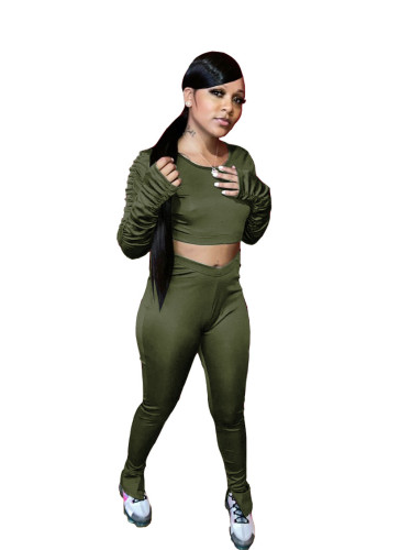Green   Autumn pleated long-sleeved split trousers sports and leisure two-piece suit