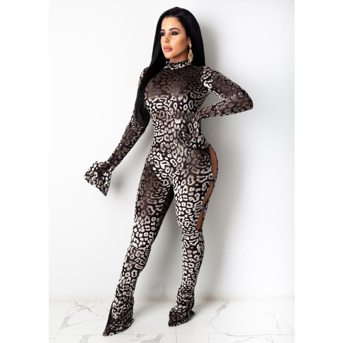 Coffee Women's sexy positioning printing trousers long-sleeved jumpsuit