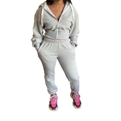 Grey  Autumn and winter solid color hoodie jogger two-piece suit