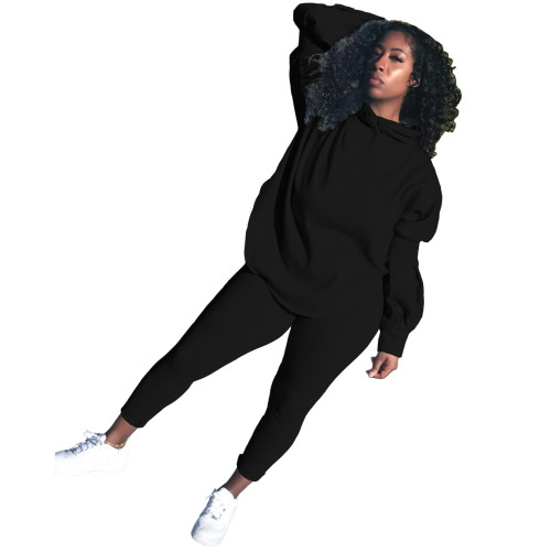 Clear bamboo color   Autumn and winter solid color puff sleeve split hoodie sports and leisure two-piece suit
