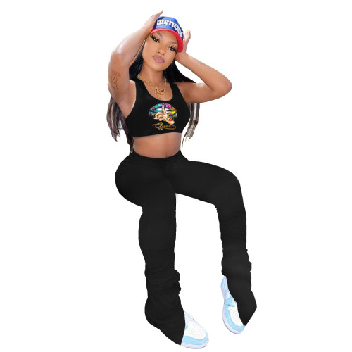 Black  Two-piece sports and leisure suit with unilateral smocked trousers with lip print vest
