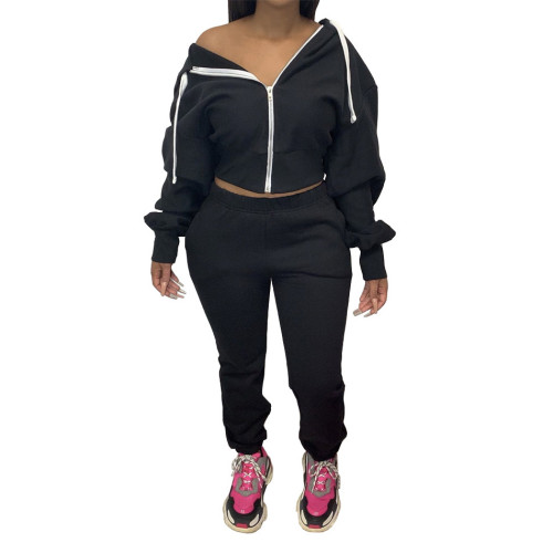 Black  Autumn and winter solid color hoodie jogger two-piece suit