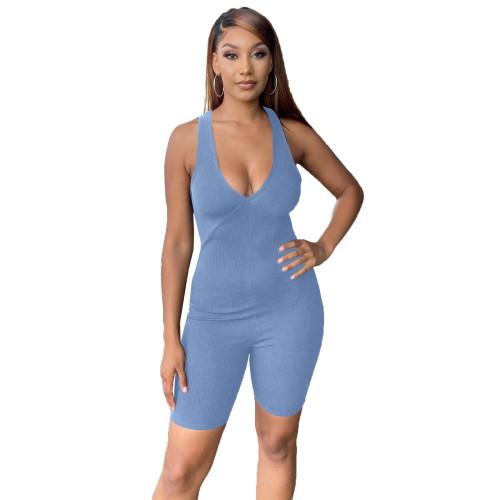 Light  blue   Solid color sleeveless multi-shoulder strapless back ribbed striped jumpsuit