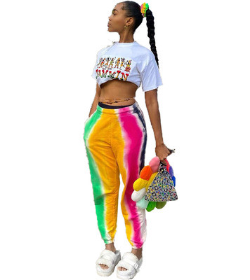 Women's sexy positioning printing rainbow multicolor trousers