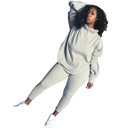 Grey  Autumn and winter solid color puff sleeve split hoodie sports and leisure two-piece suit