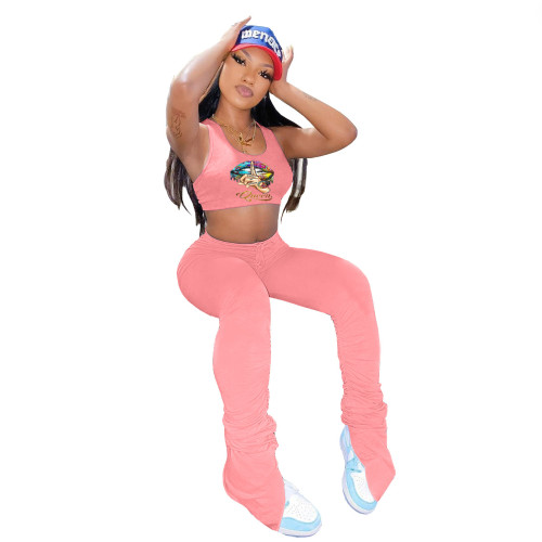 Pink  Two-piece sports and leisure suit with unilateral smocked trousers with lip print vest