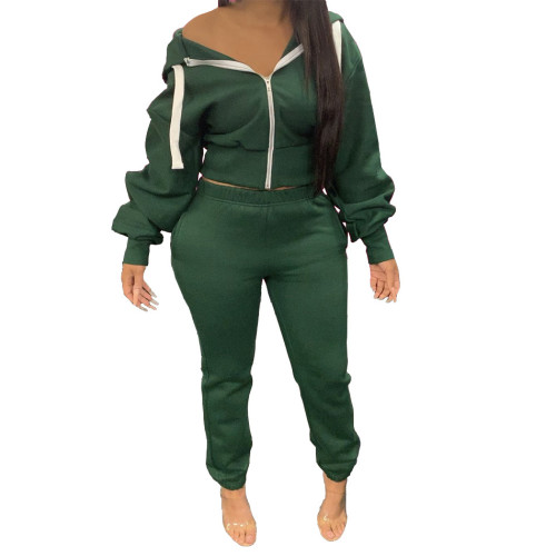 Drak  Green  Autumn and winter solid color hoodie jogger two-piece suit