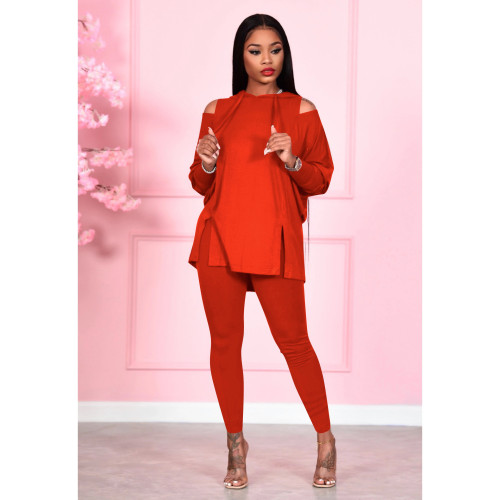 Fashion women's solid color strapless hooded two-piece suit