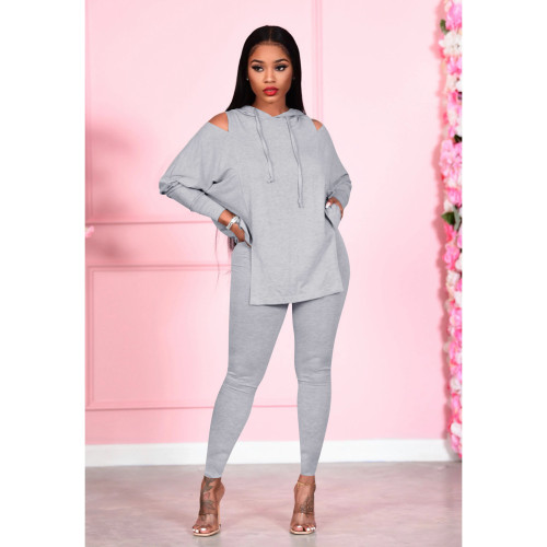 Gray Fashion women's solid color strapless hooded two-piece suit