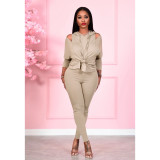 Black Fashion women's solid color strapless hooded two-piece suit