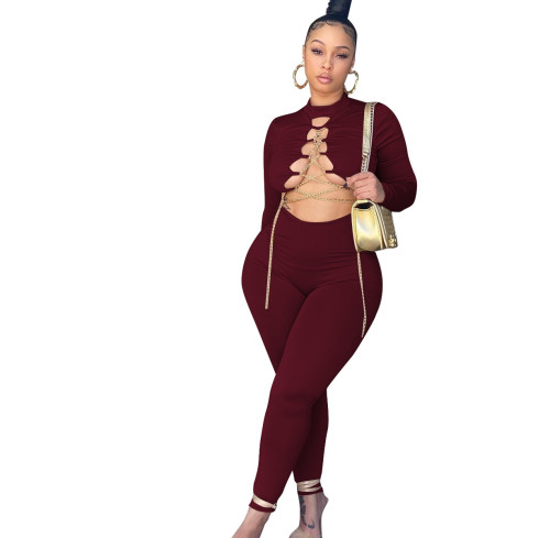 Claret Sexy gold chain tie autumn and winter jumpsuit