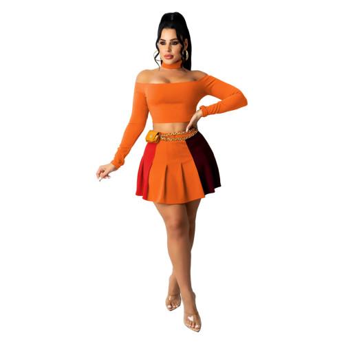 Orange Women's sexy contrast color pleated skirt suit