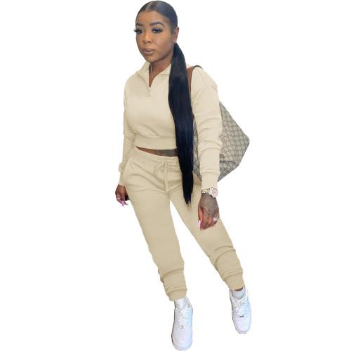 Khaki Leisure sports zipper long two-piece suit