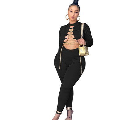 Sexy gold chain tie autumn and winter jumpsuit