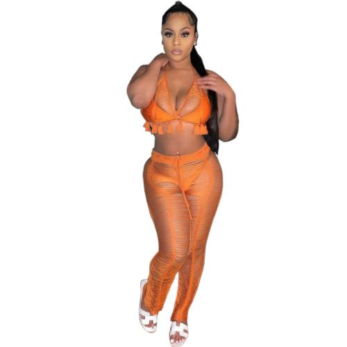 Women's Sexy Hollow Knitted Beach Pants + Bikini Set