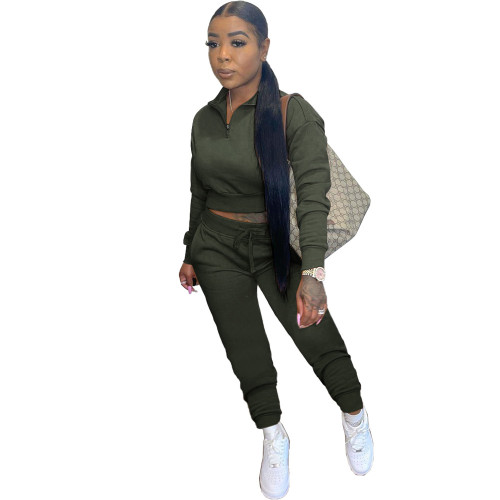 Army green Leisure sports zipper long two-piece suit