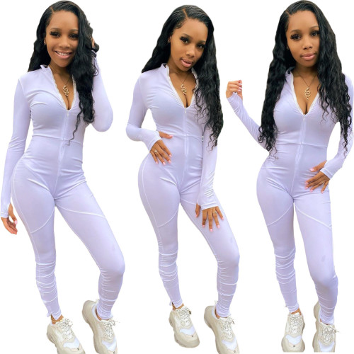 White  Casual trousers split stitching long-sleeved jumpsuit