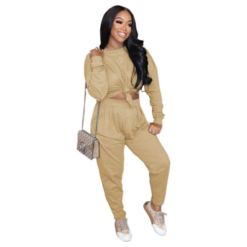 Khaki Pure color loose long-sleeved T-shirt + pleated waist casual pants suit