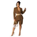 Coffee Women's suit shorts OL style suit