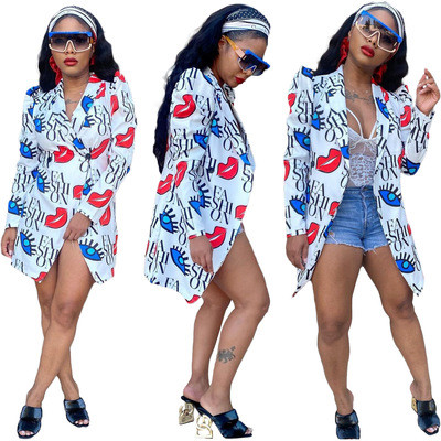 White  Fashionable digital printing slim casual 5-color small suit