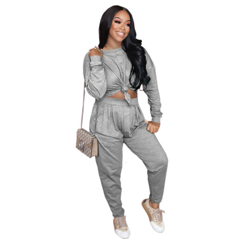 Gray Pure color loose long-sleeved T-shirt + pleated waist casual pants suit