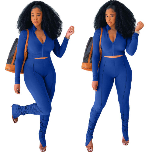 Blue   Stitching pleated long sleeve two-piece suit