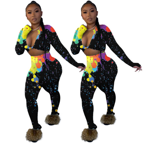Black  Fashion trousers split women's colorful ink printing 5-color two-piece suit