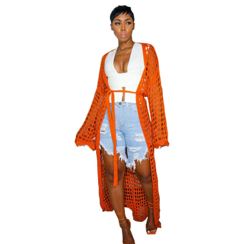 Orange Women's casual openwork knitted long coat