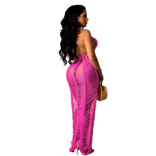 Rose red Women's sexy solid color knitted beach long skirt