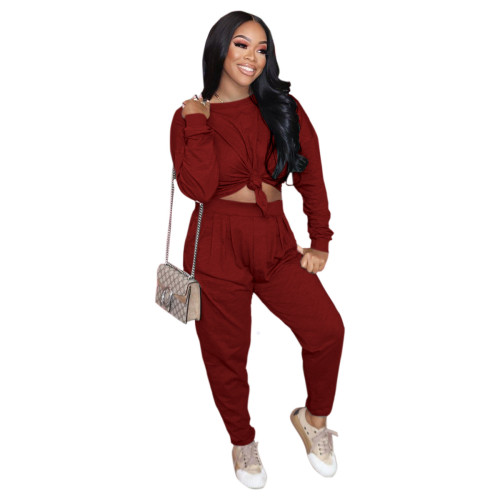 Claret Pure color loose long-sleeved T-shirt + pleated waist casual pants suit