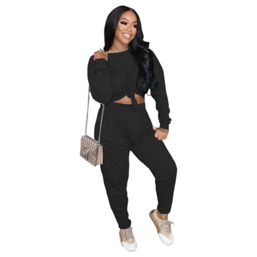 Black Pure color loose long-sleeved T-shirt + pleated waist casual pants suit