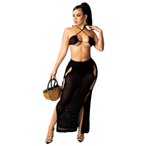 Black Women's casual sexy knitted bikini + beach skirt