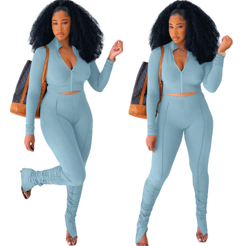 Light  blue  Stitching pleated long sleeve two-piece suit