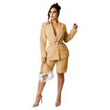 Khaki Women's suit shorts OL style suit