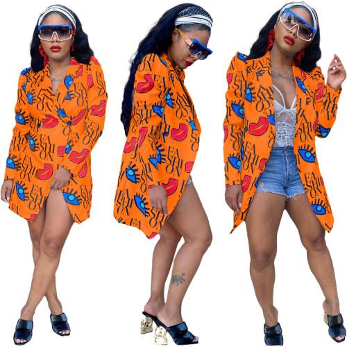 Orange  Fashionable digital printing slim casual 5-color small suit
