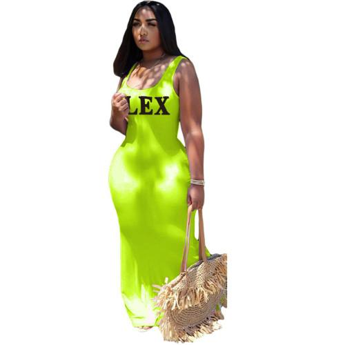 Fluorescent green   U-neck large hem dress with solid color letter positioning printing