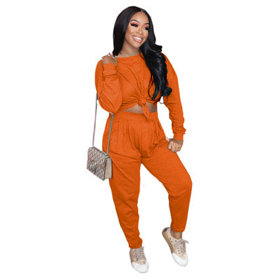 Pure color loose long-sleeved T-shirt + pleated waist casual pants suit