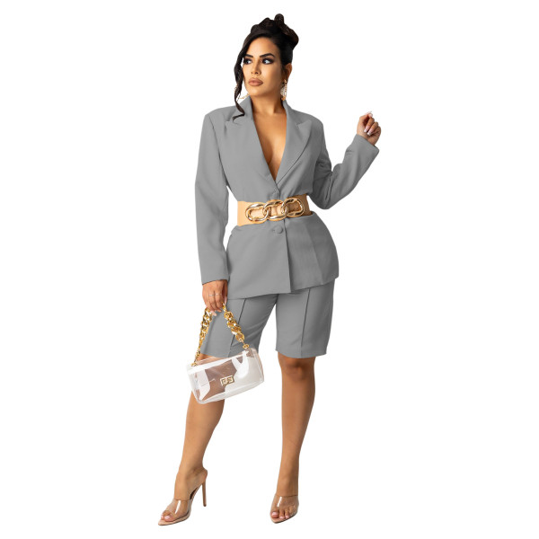 Gray Women's suit shorts OL style suit